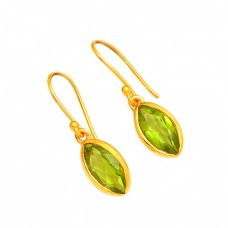 Peridot Marquise Shape Gemstone 925 Sterling Silver Gold Plated Dangle Earrings