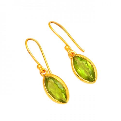 Peridot Marquise Shape Gemstone 925 Sterling Silver Gold Plated Dangle Earrings