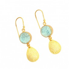 Blue Larimar Round Shape Gemstone 925 Sterling Silver Gold Plated Dangle Earrings