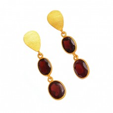 Red Garnet Oval Shape Gemstone 925 Sterling Silver Gold Plated Dangle Stud Earrings