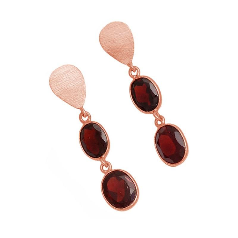 Red Garnet Oval Shape Gemstone 925 Sterling Silver Gold Plated Dangle Stud Earrings
