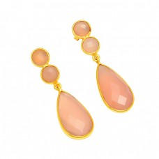 Bezel Setting Pink Chalcedony Gemstone 925 Sterling Silver Gold Plated Dangle Earrings