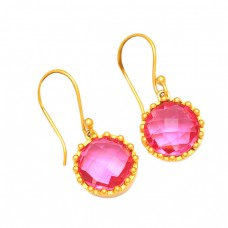 Round Shape Pink Quartz Gemstone 925 Sterling Silver Gold Plated Dangle Earrings