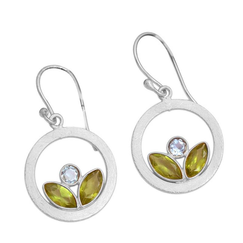 925 Sterling Silver Peridot Blue Topaz Gemstone Gold Plated Dangle Earrings
