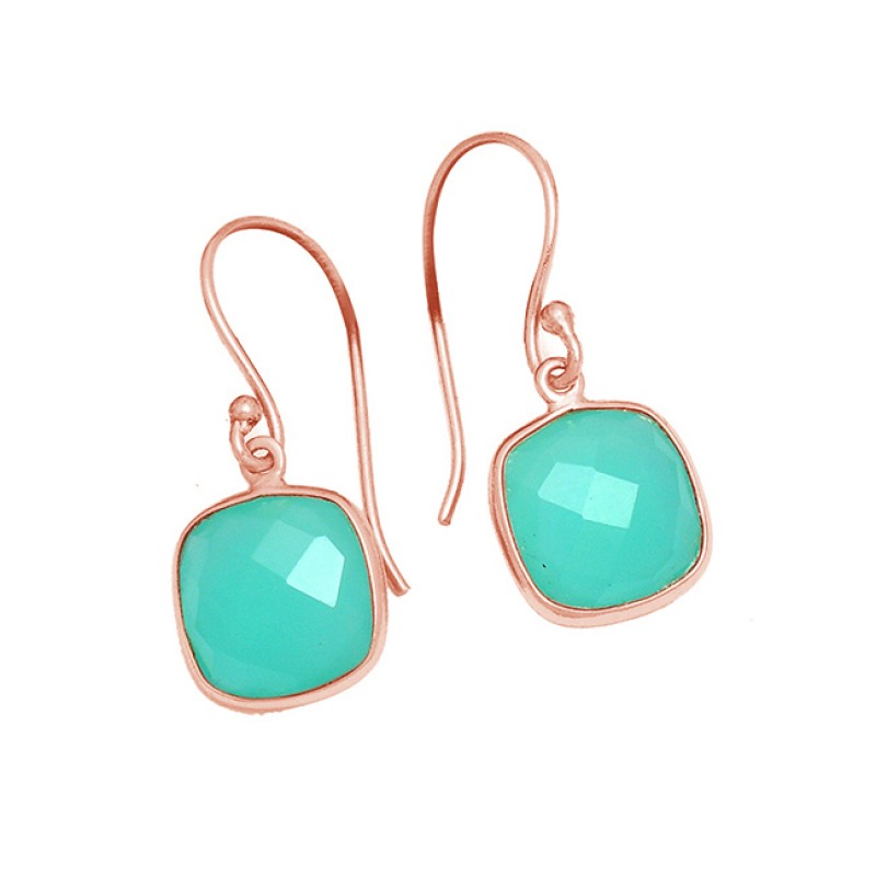 Cushion Shape Aqua Chalcedony Gemstone 925 Sterling Silver Gold Plated Dangle Earrings