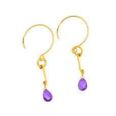 Pear Shape Amethyst Gemstone 925 Sterling Silver Gold Plated Hoop Dangle Earrings