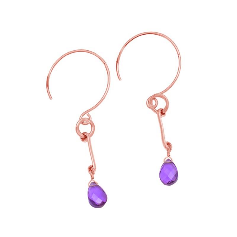 Pear Shape Amethyst Gemstone 925 Sterling Silver Gold Plated Hoop Dangle Earrings