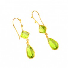 925 Sterling Silver Green Quatrz Gemstone Bezel Setting Gold Plated Dangle Earrings