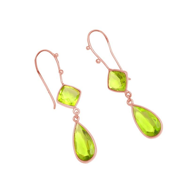 925 Sterling Silver Green Quatrz Gemstone Bezel Setting Gold Plated Dangle Earrings