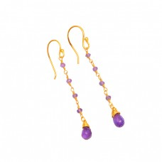 Amethyst Roundel Beads Pear Drops Shape Gemstone 925 Silver Gold Plated Earrings