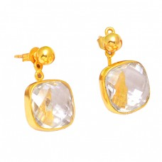 Handcrafted Designer Crystal Quartz Gemstone 925 Sterling Silver Gold Plated Stud Earrings