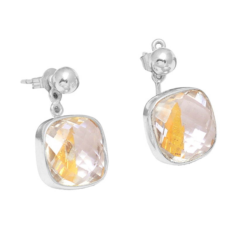 Handcrafted Designer Crystal Quartz Gemstone 925 Sterling Silver Gold Plated Stud Earrings