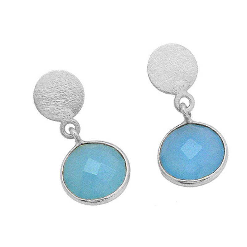 Round Shape Chalcedony Gemstone 925 Sterling Silver Gold Plated Dangle Stud Earrings