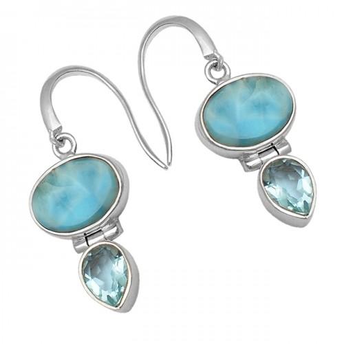 Blue Larimar Blue Topaz Gemstone 925 Sterling Silver Dangle Earrings