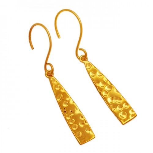 Designer Plain 925 Sterling Silver Gold Plated Hammered Dangle Earrings