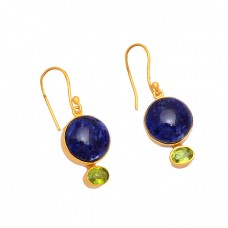 Sodalite Peridot Gemstone 925 Sterling Silver Gold Plated Dangle Handmade Earrings