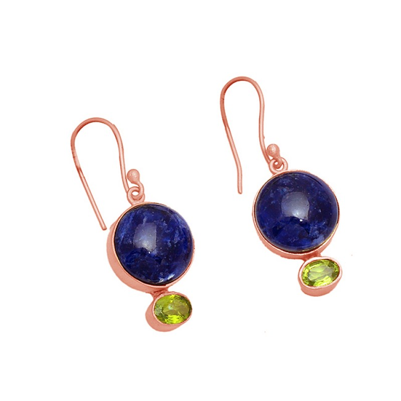 Sodalite Peridot Gemstone 925 Sterling Silver Gold Plated Dangle Handmade Earrings