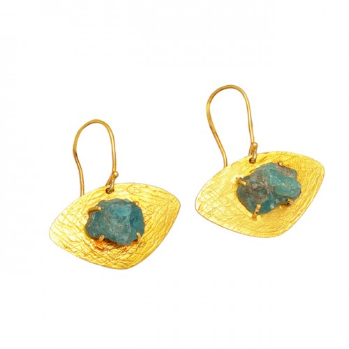 Aquamarine Rough Gemstone 925 Sterling Silver Gold Plated Handcrafted Designer Earrings