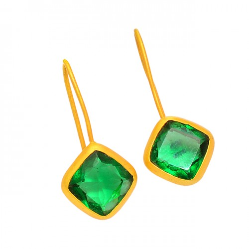 Cushion Shape Green Quartz Gemstone 925 Sterling Silver Fixed Ear Wire Earrings