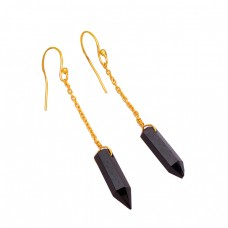 Black Onyx Pencil Shape Gemstone 925 Sterling Silver Gold Plated Chain Earrings