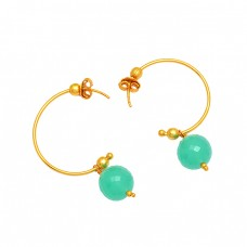 Round Balls Shape Chalcedony Gemstone 925 Sterling Silver Gold Plated Hoop Earrings