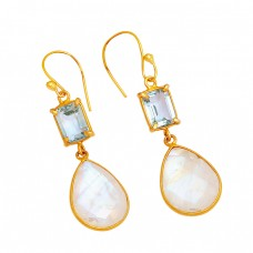 Blue Topaz Moonstone 925 Sterling Silver Gold Plated Dangle Handmade Earrings