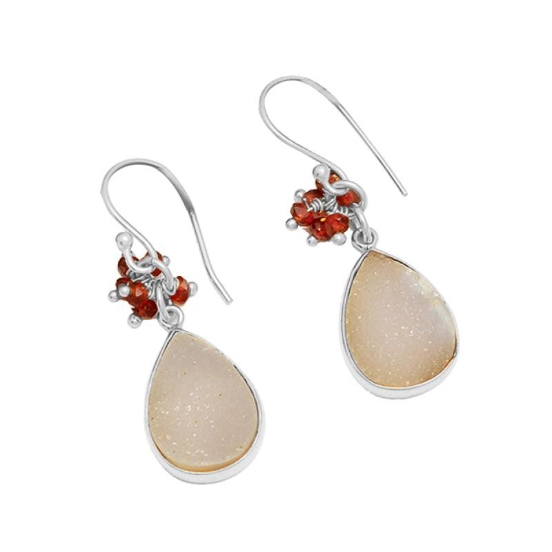 White Druzy Garnet Gemstone 925 Sterling Silver Gold Plated Dangle Earrings