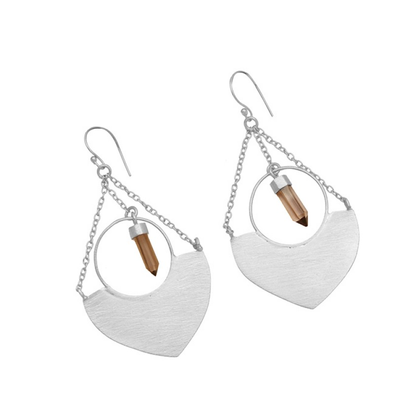 Pencil Shape Smoky Quartz Gemstone 925 Sterling Silver Gold Plated Earrings