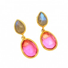 Labradorite Pink Quartz Gemstone 925 Sterling Silver Gold Plated Stud Dangle Earrings