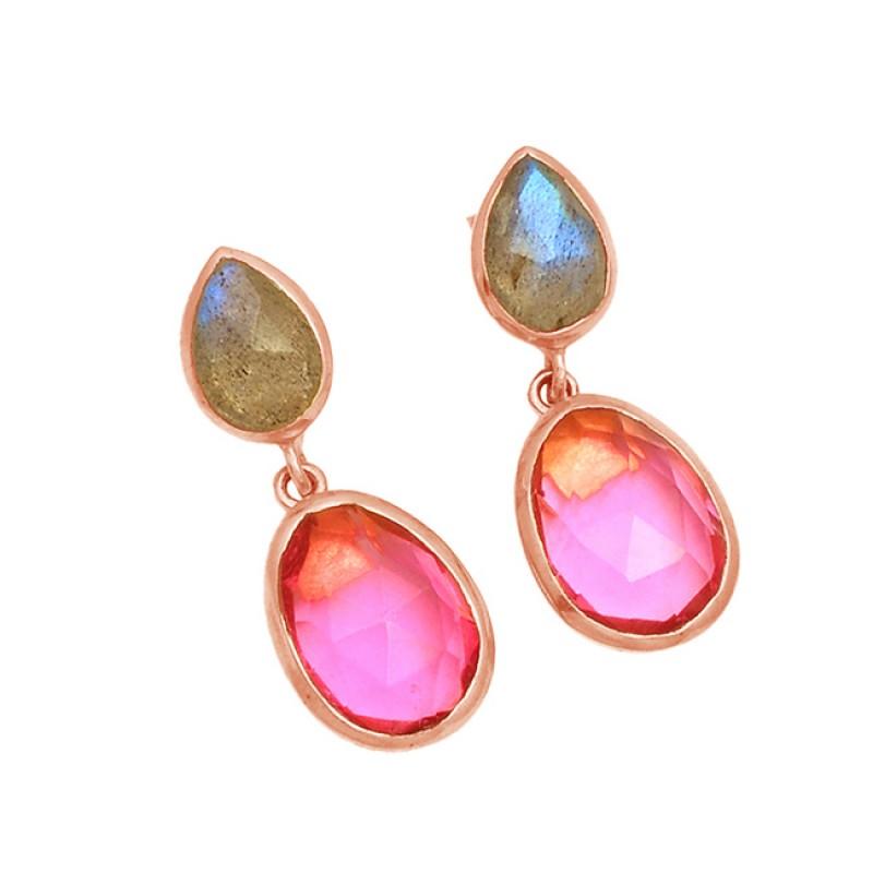 Labradorite Pink Quartz Gemstone 925 Sterling Silver Gold Plated Stud Dangle Earrings