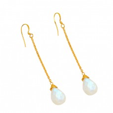 Pear Shape Rainbow Moonstone 925 Sterling Silver Gold Plated Chain Dangle Earrings