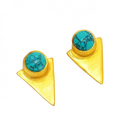925 Sterling Silver Round Shape Turquoise Gemstone Gold Plated Stud Earrings