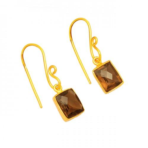 Smoky Quartz Cushion Shape Gemstone 925 Sterling Silver Gold Plated Dangle Earrings