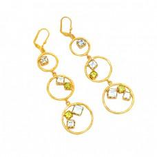 925 Sterling Silver Blue Topaz Peridot Gemstone Gold Plated Hoope Earrings