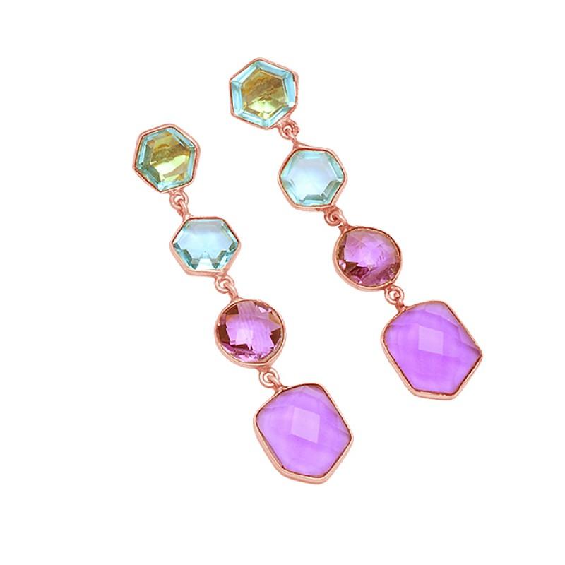 Amethyst Blue Topaz Gemstone 925 Sterling Silver Gold Plated Dangle Stud Earrings