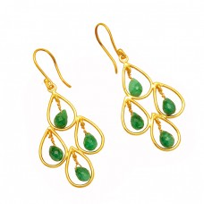 925 Sterling Silver Emerald Pear Drops Gemstone Gold Plated Dangle Earrings