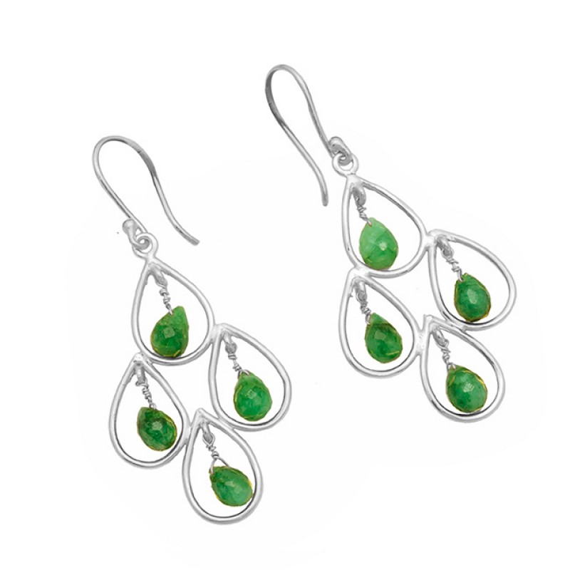 925 Sterling Silver Emerald Pear Drops Gemstone Gold Plated Dangle Earrings