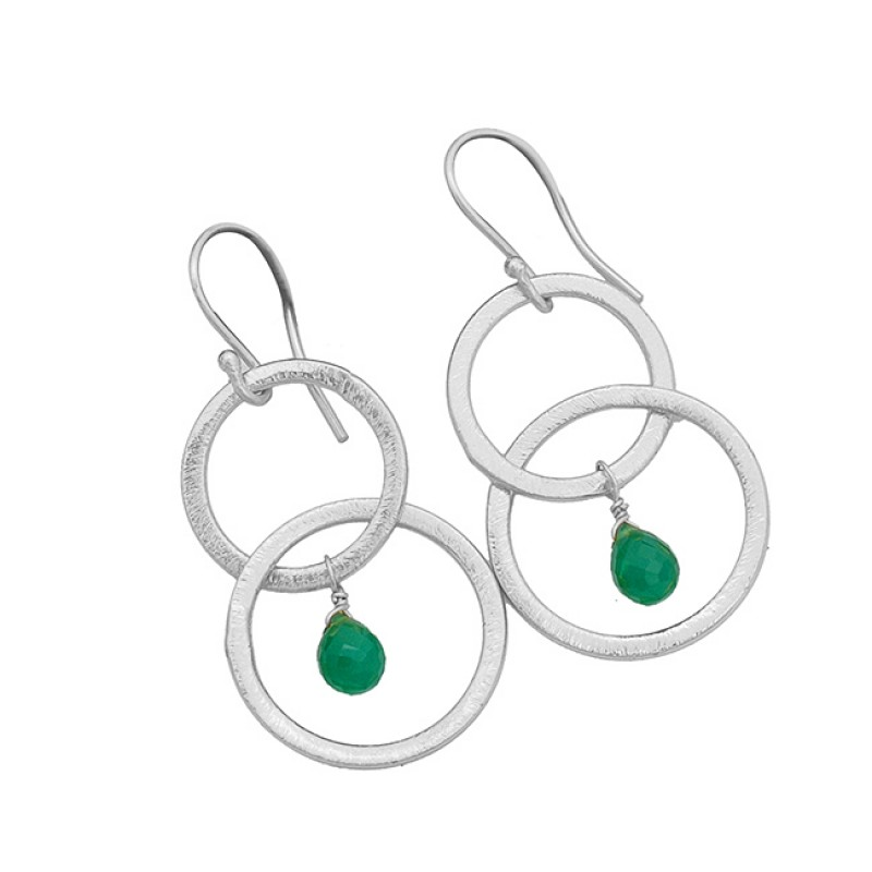 925 Sterling Silver Green Onyx Pear Drops Gemstone Gold Plated Dangle Earrings