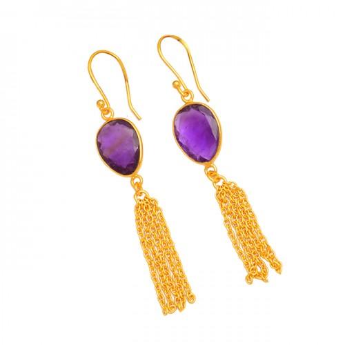 Oval Shape Amethyst Gemstone 925 Sterling Silver Gold Plated Chain Dangle Earrings