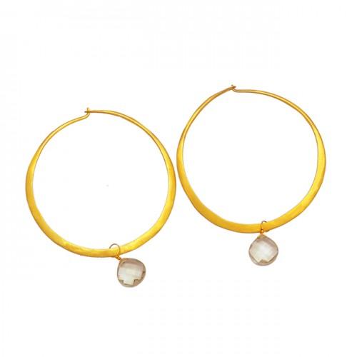 Green Amethyst Heart Shape Gemstone 925 Sterling Silver Gold Plated Hoop Earrings