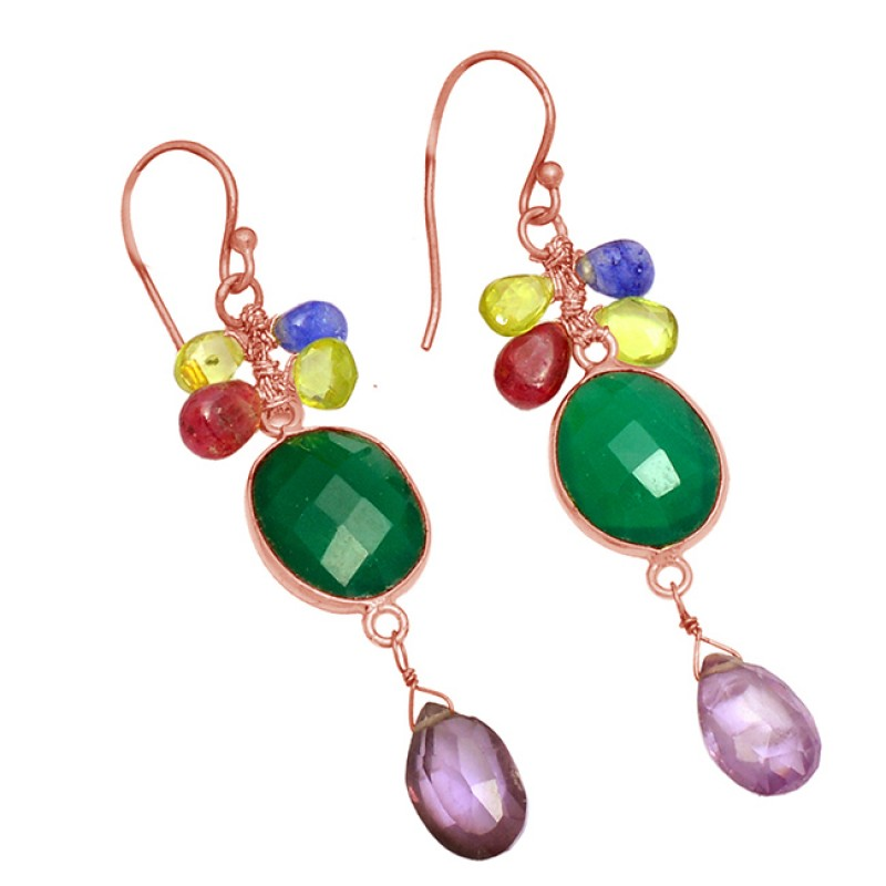925 Sterling Silver Multi Color Gemstone Designer Gold Plated Dangle Earrings