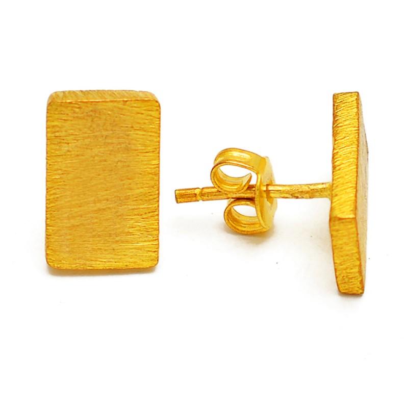 Simple Plain Designer 925 Sterling Silver Gold Plated Handmade Stud Earrings