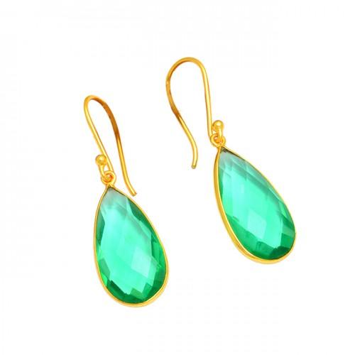 Pear Shape Green Quartz Gemstone 925 Sterling Silver Gold Plated Dangle Earrings