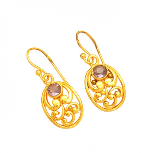 925 Sterling Silver Filigree Style Amethyst Gemstone Gold Plated Dangle Earrings
