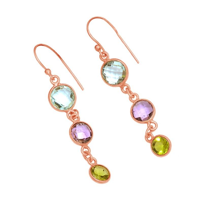 Amethyst Topaz Peridot Gemstone 925 Sterling Silver Gold Plated Dangle Earrings