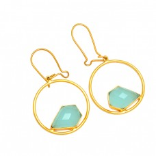 Fancy Aqua Chalcedony Gemstone 925 Sterling Silver Gold Plated Hoop Earrings