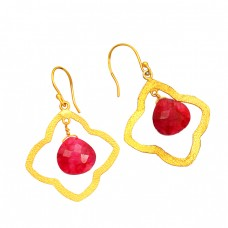 925 Sterling Silver Heart Shape Ruby Gemstone Gold Plated Dangle Handmade Earrings
