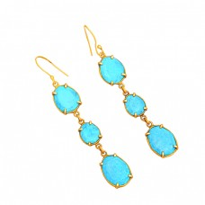 Prong Setting Oval Shape Turquoise Gemstone 925 Silver Gold Plated Dangle Earrings