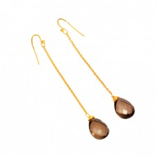 925 Sterling Silver Smoky Quartz Pear Shape Gemstone Gold Plated Chain Earrings