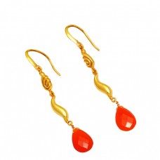 Carnelian Pear Shape Gemstone 925 Sterling Silver Gold Plated Dangle Earrings